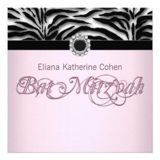 Jewel Black Pink Zebra Bat Mitzvah Custom Announcements