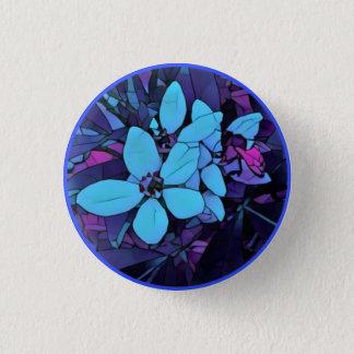 Jewel-blue mosaic flower 3 cm round badge