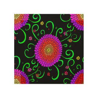 Jewel Bright Color Flowers Black Floral Pattern Wood Wall Art