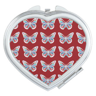 Jewel Butterflies on Red Travel Mirror