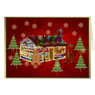 Jewel-Covered Gingerbread House Card