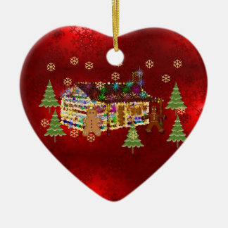 Jewel-Covered Gingerbread House Ceramic Heart Decoration