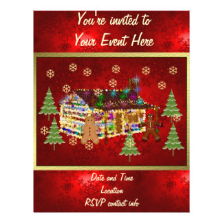 Jewel-Covered Gingerbread House Flyer Design