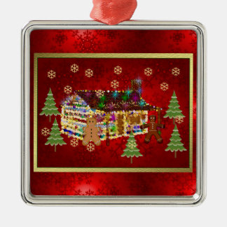 Jewel-Covered Gingerbread House Silver-Colored Square Decoration
