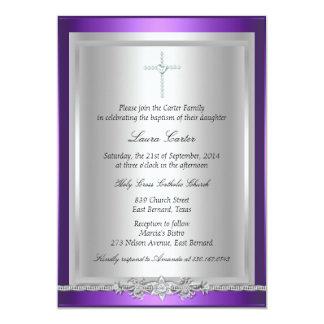 "Jewel & Cross Baptism/Christening Invitation 5"" X 7"" Invitation Card"