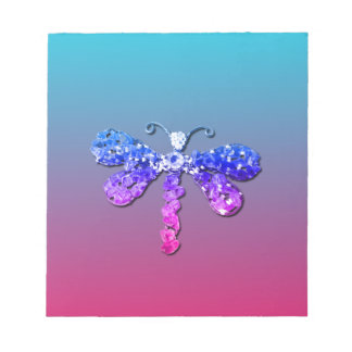 Jewel Dragon Fly Sparkle Customize pretty Note Pad