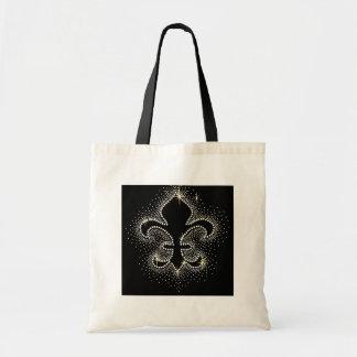 Jewel Fleur De Lis Black Silver Gold Sparkle Tote Bag