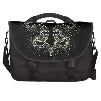 Jewel Fleur De Lis Black Silver Gold Sparkle Laptop Computer Bag