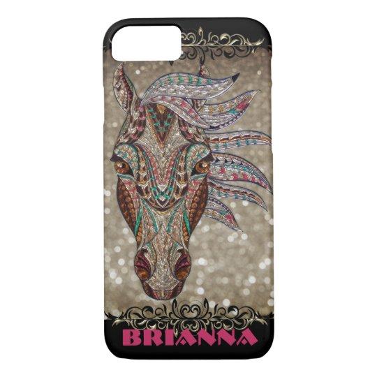 Jewel Glitter Horse Figure Custom Cell Phone Case