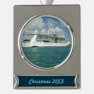 Jewel in Key West Dated Silver Plated Banner Ornament