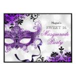 Jewel Mask & Damask Purple Masquerade Sweet 16 11 Cm X 16 Cm Invitation Card