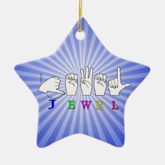 JEWEL NAME SIGN ASL FINGERSPELLED CERAMIC STAR DECORATION