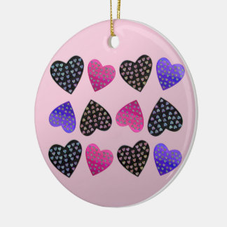 Jewel of Hearts Round Ceramic Decoration