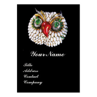 JEWEL OWL ,Gold,Green Emerald ,black white pearl Business Card