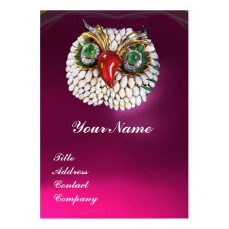 JEWEL OWL ,Gold,Green Emerald Fuchsia white pearl Business Card Templates