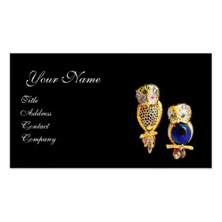 JEWEL OWLS Gold Blue Sapphire Topaz White Pearl Business Card