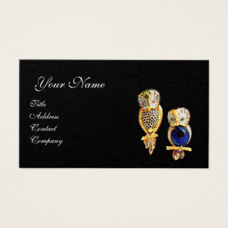 JEWEL OWLS,Gold, Blue Sapphire ,Topaz White Pearl Business Card