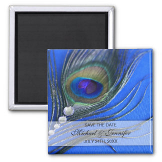 Jewel Peacock Feather Blue Save the Date Square Magnet
