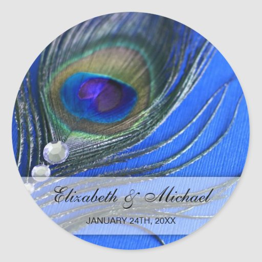 Jewel Peacock Feather Blue Wedding Favor Label Round Stickers