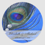 Jewel Peacock Feather Blue Wedding Favour Label Round Sticker