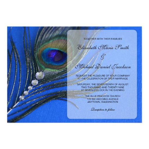 Jewel Peacock Feather Blue Wedding Invitations Personalized Invite
