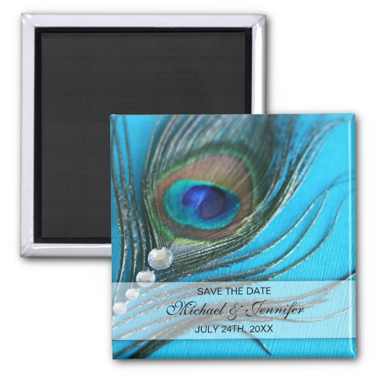 Jewel Peacock Feather Save the Date Square Magnet