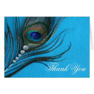 Jewel Peacock Feather Thank You Card
