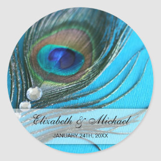 Jewel Peacock Feather Wedding Favor Label