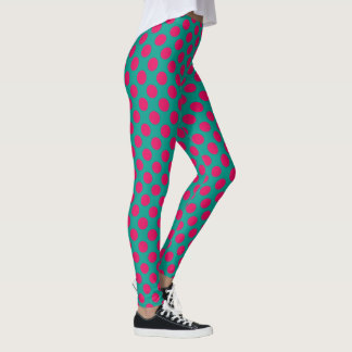 Jewel Pink Polka Dots on Turquoise Waters Leggings