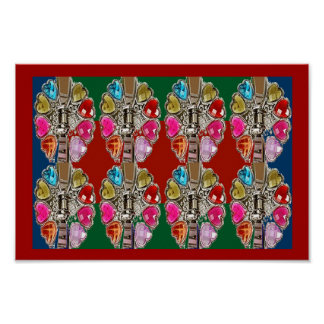 JEWEL pink red hearts fun  love  ART Collection Posters