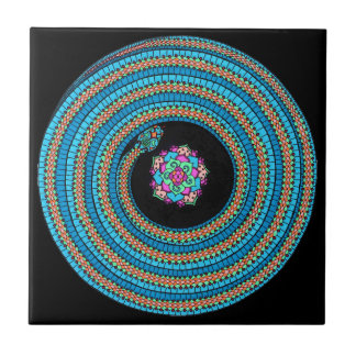 Jewel Snake Mandala Deco Tile /black tile