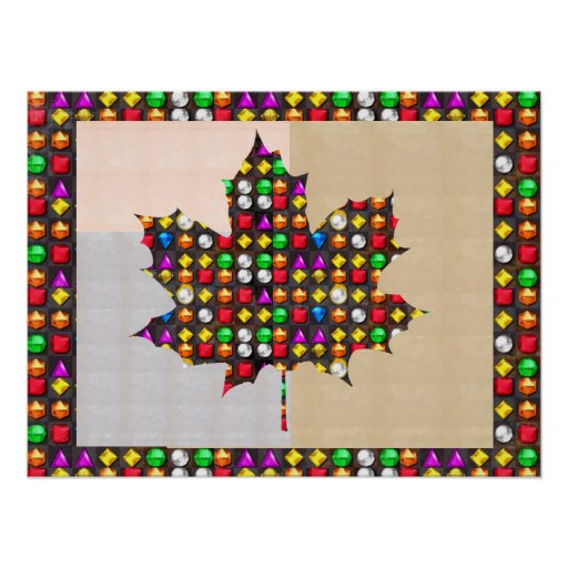 Jewel studded Proud CANADIAN MAPLE LEAF Posters