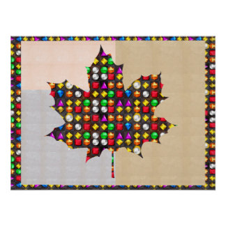 Jewel studded Proud CANADIAN MAPLE LEAF Poster