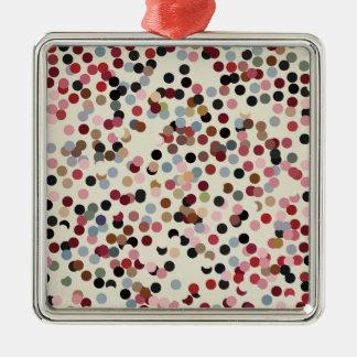 Jewel Tone Confetti Colorful Dots Silver-Colored Square Decoration
