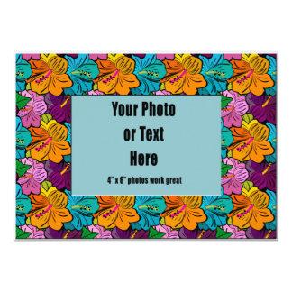 Jewel Tone Floral Hibiscus Frame Custom Announcement