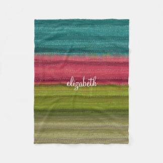 Jewel Tone Watercolor Stripes Custom Name Fleece Blanket