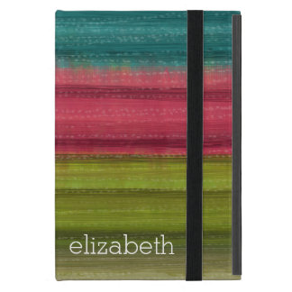 Jewel Tone Watercolor Stripes Custom Name iPad Mini Case