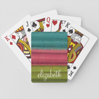 Jewel Tone Watercolor Stripes Custom Name Playing Cards