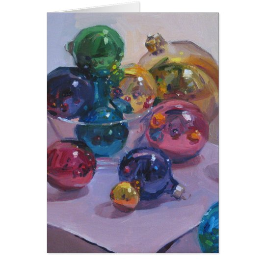 """Jewel-Toned Ornaments"" Christmas Art Card"