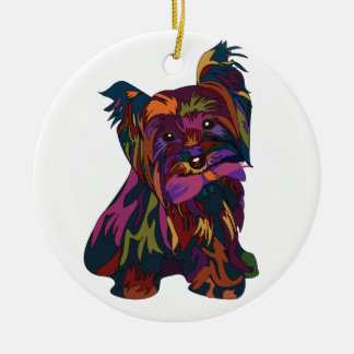 Jewel Toned Rainbow Yorkie Round Ceramic Decoration