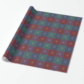 Jewel-toned red blue green purple Vintage Mosaic Wrapping Paper
