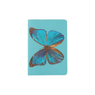 Jewel Toned Turquoise Butterfly Art Passport Holder