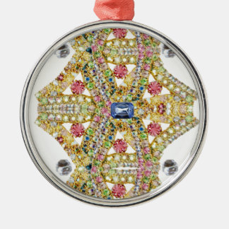 Jeweled Abstract Design Customize Silver-Colored Round Decoration