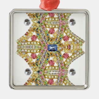 Jeweled Abstract Design Customize Silver-Colored Square Decoration