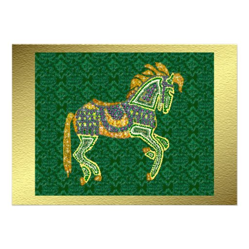 Jeweled Artistic Horse Custom Invitations