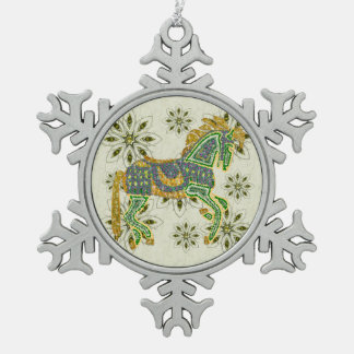 Jeweled Artistic Horse Pewter Snowflake Decoration