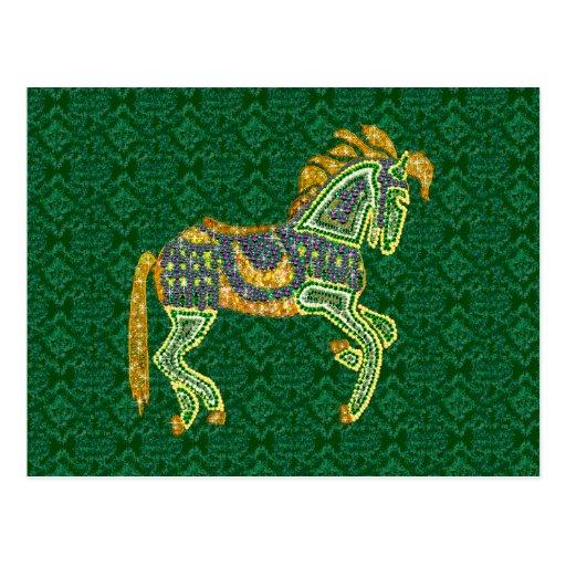 Jeweled Artistic Horse Post Card