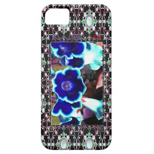 JEWELED BLUE FLORAL DESIGNER IPHONE CASE CASE FOR iPhone 5/5S