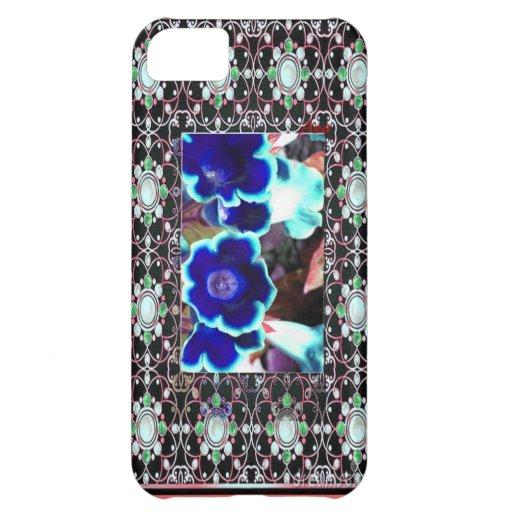 JEWELED BLUE FLORAL DESIGNER IPHONE CASE 5C iPhone 5C CASES