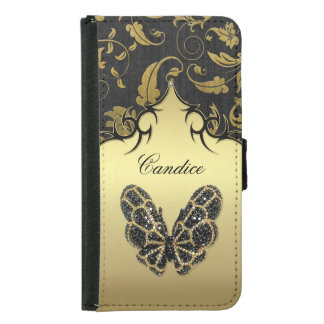 Jeweled Butterfly Damask - Galaxy S5 Samsung Galaxy S5 Wallet Case
